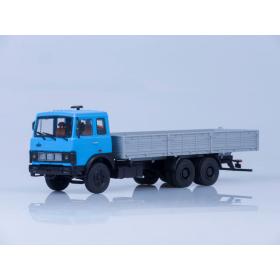 Масштабная модель МАЗ-6303 бортовой (голубой/серый) /откидывающаяся кабина/