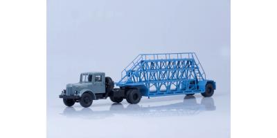 Масштабная модель МАЗ-200В с полуприцепом НАМИ-790, (серый/голубой)